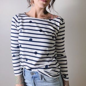 J. CREW Boat Neck T-Shirt in Dotted Stripes